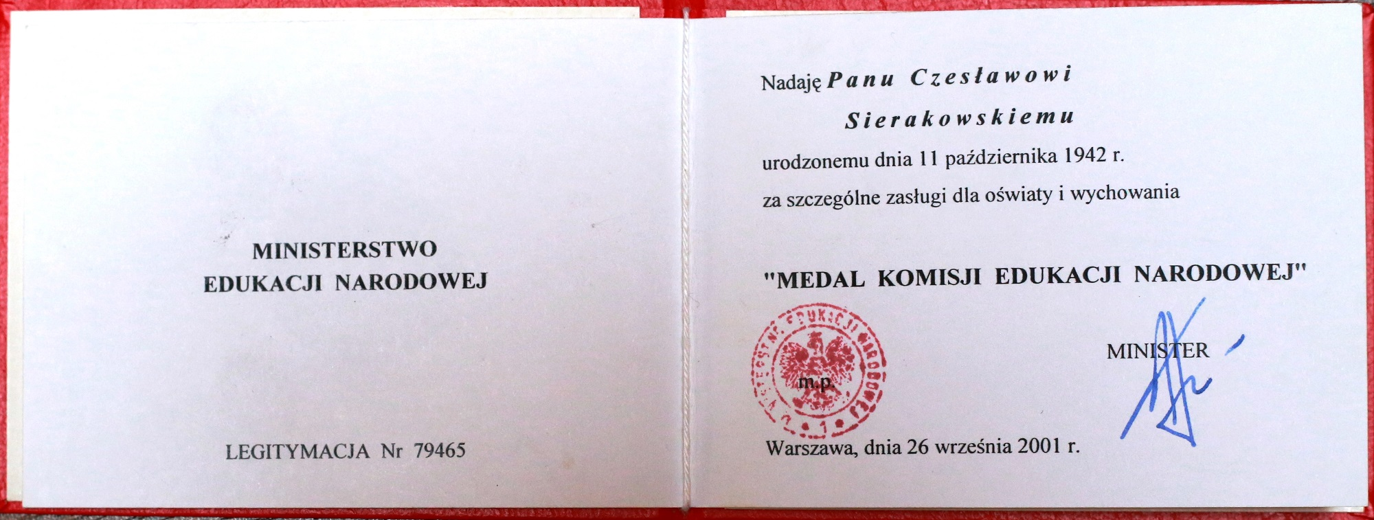 A certificate added to The Medal of Ministry of National Education for special services in terms of the education and training of the young painters.