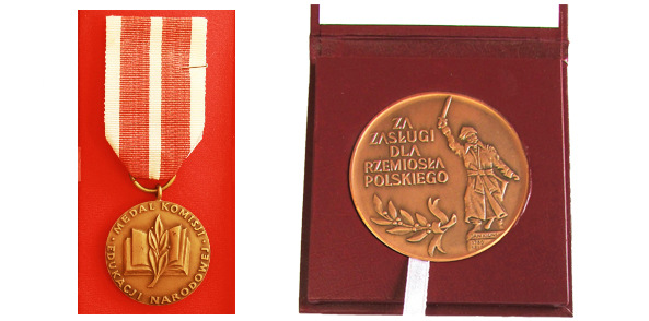 The Medal of Ministry of National Education for special services in terms of the education and training of the young painters, given by The Minister of Education  in 2001. Jan Kiliński Golden Medal- given by Polish Craft Association for the appreciation of the services in 2011.